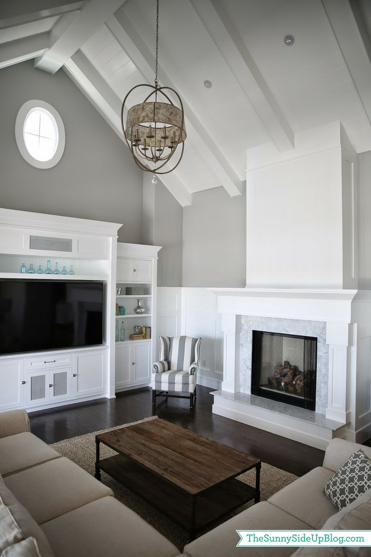 Living Room Paint Color Ideas Grey Accent Wall White Trim