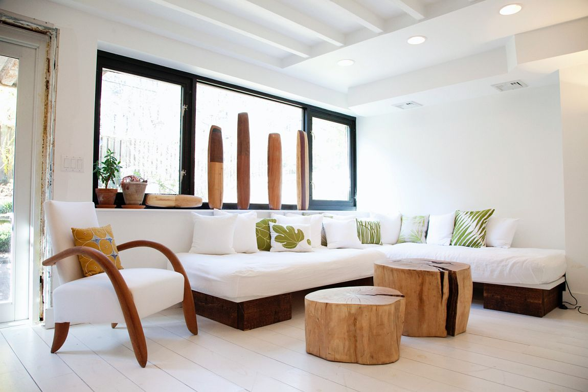 Decorar con troncos de madera vida sostenible Decoracion contemporanea casas pequenas